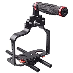 SUNRISE Pro DSLR Camera Cage Rig Set Kit 15mm Rod Shoulder for Canon 5D HSR-610