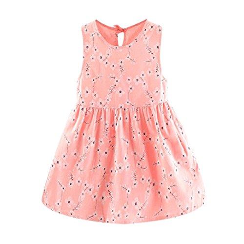 baskuwish Girls Collar Dress Toddler Summer Newborn Toddler Baby Girls Flower Print Princess Sleeveless Dress Casual Clothes (Pink, 6)