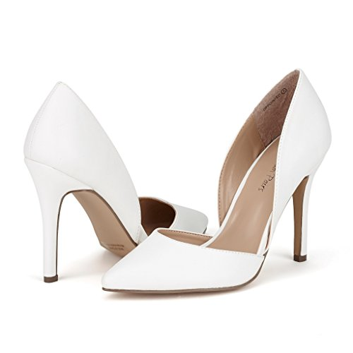 Dream Pairs Women's Oppointed White Pu Dress Pump Stiletto Heel Shoes - 9.5 M US