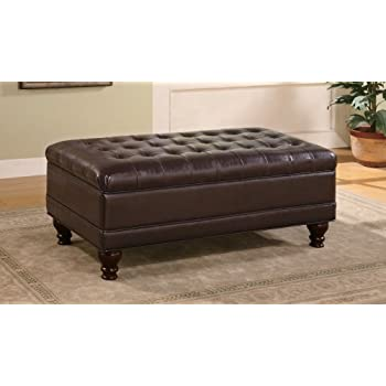 Storage Ottoman With Tufted Accents In Dark Brown Leather Like (Improved  Packaging To Stop Shipping
