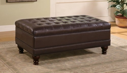 Ottoman Accent Brown (Storage Ottoman with Tufted Accents in Dark Brown Leather Like (Improved Packaging to stop shipping damage))