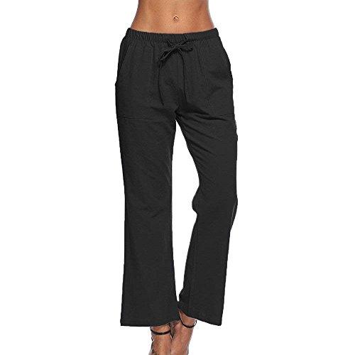 Sólido Las Negro Taille Fashion Cómodo Pantalon Ropa Mujeres Correas Mujer  Pantalones Con De Cruzadas Verano ... 01ed118aad9a
