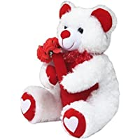 Amardeep & Co White Teddy with Roses 40cms  - ad1129