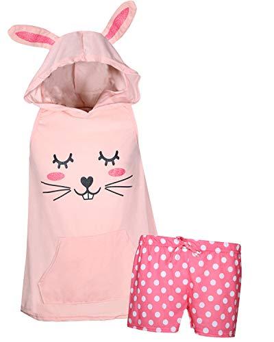 (dELiA*s Girl\'s Summer Pajama Short Set with Animal Character Hood (Pink Bunny,)