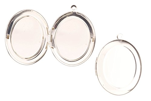 Plain Oval Locket Pendant Silver Plated Fits Three 18x23mm Photos 34x25.5mm sold per pack for 4 (Locket Photo Three)