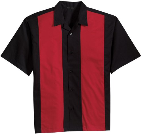 Joe's USA Retro Camp Bowling Shirts in 5 Colors from XS-4XL Black/Red]()