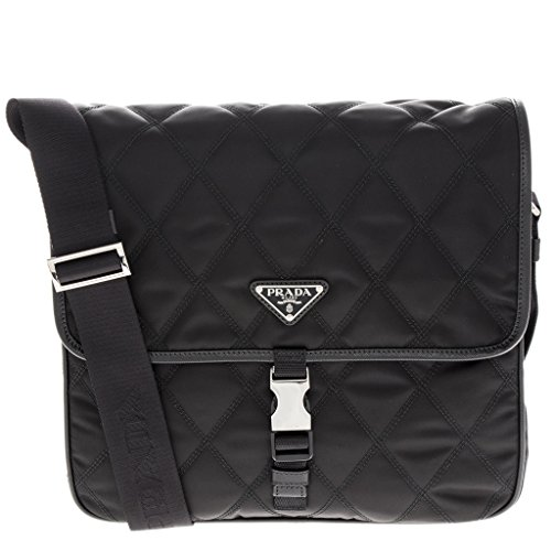 Prada Quilted Nylon Messenger Black