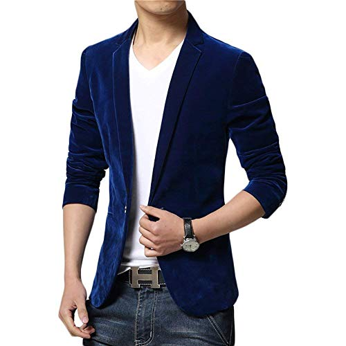 Printemps Simple Retro Casual Slim À Manches Blazer Jacket Homme Pour Couleur Business Blazers Hellblau Targogo Automne Unie Boutonnage Longues Collar Revers Fit PxwvqO