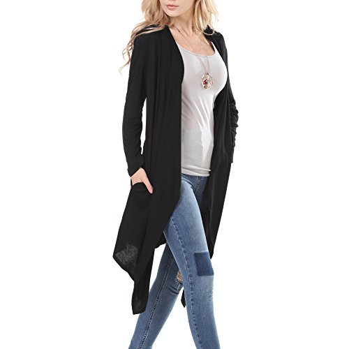 La Carrie Women's Long Sleeve Open Front Black Cardigan with Pockets,Black,Small (Long Girls Cardigan)