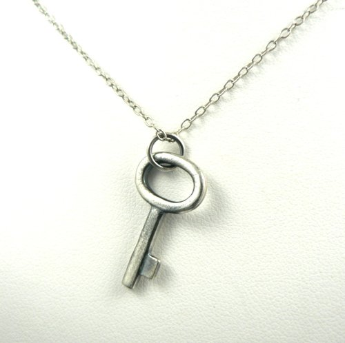 Antique Style Rustic Skeleton Key Sterling Silver Charm Necklace Inspired Charm Jewelry