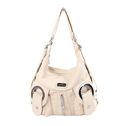 Angelkiss 2 Top Zippers Multi Pockets Handbags Washed Leather Purses  Shoulder Bags Backpack W6802 (Beige 53de5caf9faf9