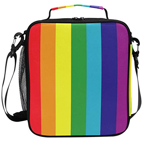 Colorful Rainbow Stripe Flag Lunch Box Insulated Lunch Bag Large Freezable Pride Gay Lesbian Support Peace Love Lunch Bag Tote Cooler Lunch Meal with Shoulder Strap for School Kids Boys Girls ()