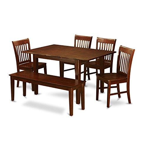 (East West Furniture PSNO6C-MAH-W 6-Piece Dining Table Set)