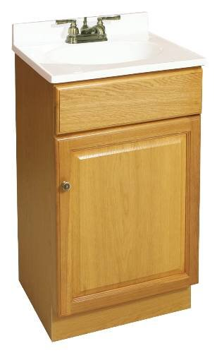 DESIGN HOUSE 103498 Claremont Bathroom Vanity Cabinet, Ready to Assemble, 1 Door, Honey Oak, 18 x 31-1/2 x 16-1/4'' by Design House (Image #1)