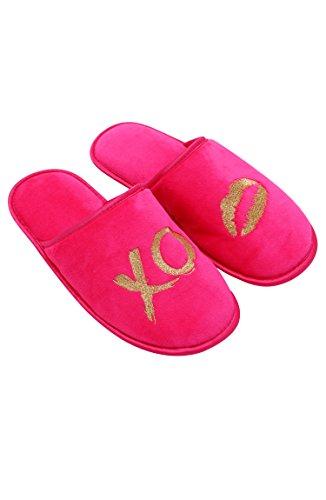 Macbeth Donna Velluto Ricamato Casa E Pantofole Da Camera Da Letto - Signore Loungewear Hot Pink W. Icone