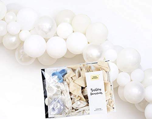 (White Balloon Garland 16 feet Wedding Arch Decoration Kit, 120 Mixed Size Balloons and Tools, Instructions, Birthday Bachelorette Bridal Baby Shower Backdrop by TOKYO SATURDAY (Dream White))