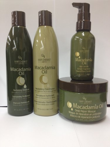 Revitalizing Hair Oil (Hair Chemist Macadamia Oil Revitalizing Combo Shampoo 10oz. + Conditioner 10oz + Deep Repair Masque 8oz + Hair Serum 4oz)
