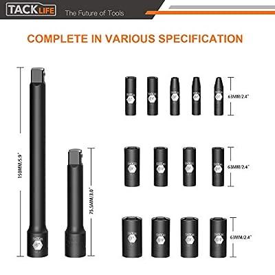 Tacklife 3/8-Inch Drive Deep Impact Socket Set, SAE, CR-V Steel, 6-Point, Heavy Duty Storage Case, 15pcs 3
