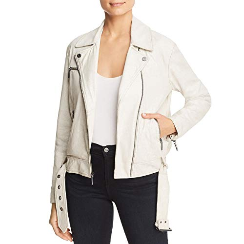 Kenneth Cole Womens Fall Sheep Suede Moto Coat White S