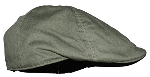 Duckbill Cap - Ted and Jack - Cotton Adjustable Duckbill Driving Cap with Paisley Lining in Army Green,One Size