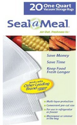 Rival VSB4-6 Seal-a-Meal 1-Quart Vacuum Sealer Bags, by Sunbeam (Vacuum Bags Sunbeam)