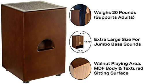 Meinl Jumbo Bass Subwoofer Cajon with Internal Snares - NOT MADE IN CHINA - Walnut Playing Surface, 2-YEAR WARRANTY (SUBCAJ5WN) by Meinl Percussion (Image #2)