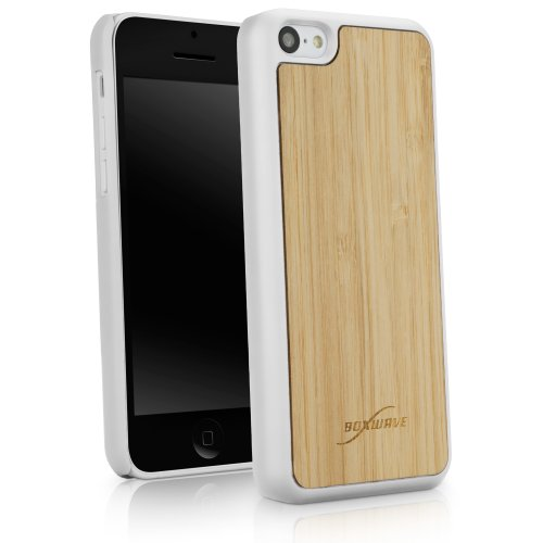 BoxWave True Bamboo Minimus Apple iPhone 5c Case, Genuine Bamboo Wood Backing Shell Case Cover with Durable Plastic Edges with Smooth Matte Finish (Winter White)