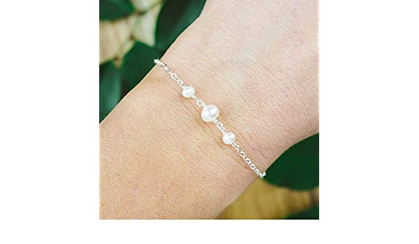 June birthstone 6 chain with 2 adjustable extender Raw freshwater pearl crystal bracelet in 925 sterling silver