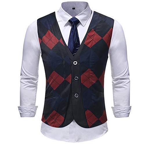 Gutori Men's Waistcoat Single Breasted Tuxedo Suit Vest for Wedding Party Dinner Black