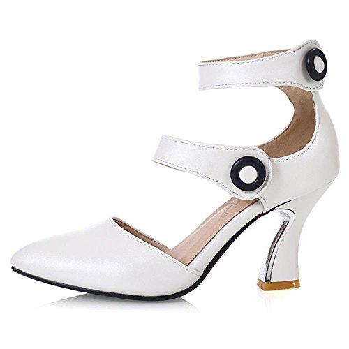 FANIMILA Mujer Moda Strappy Verano Cerrado Tacon Alto Zapatos Blanco