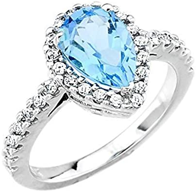 White Gold Diamond and Cushion Cut Blue Topaz Engagement Ring Size 7 December Birthstone FREE Sizing