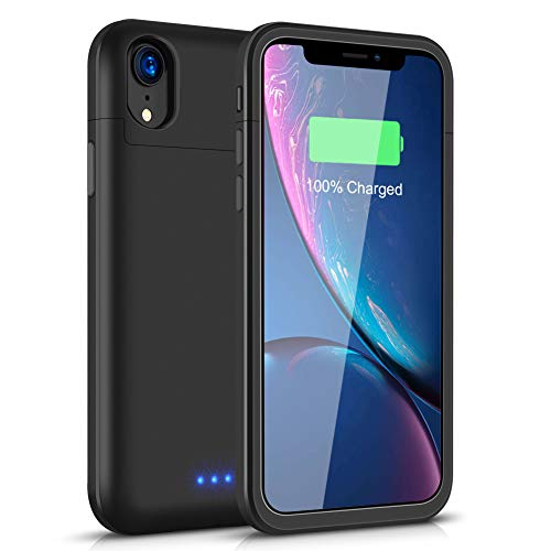 Battery Case for iPhone Xr, 5500mAh Conqto Portable Protective Power Charging Case Compatible with iPhone Xr(6.1 inch) Rechargeable Extended Battery Charger Case Power Bank Charging Case Cover-Black