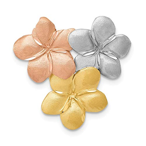 14k Tri Color Yellow White Gold Flower Necklace Chain Slide Pendant Charm Fine Jewelry For Women Gift Set
