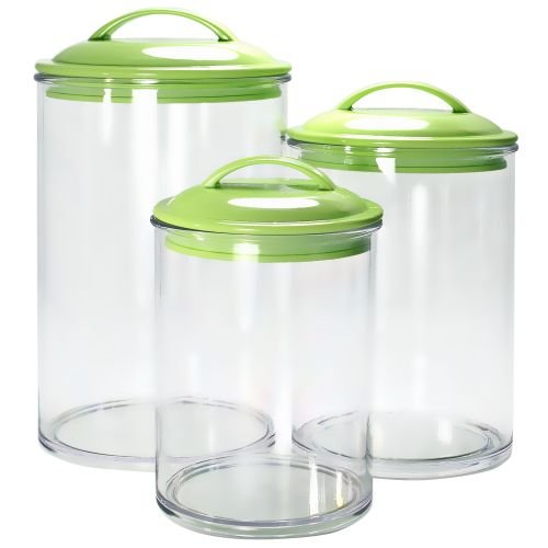 Calypso Basics by Reston Lloyd Acrylic Storage Canisters, Set of 3, Lime Green Canister
