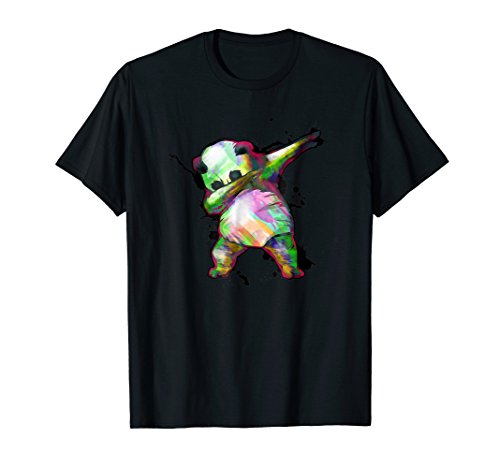 Panda Dab T Shirt   Dabbing Dance 80s Retro Splatter Tee