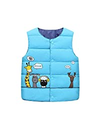 AIKSSOO Toddlers Kid Unisex Winter Warm Coat Vest Cartoon Animals Cotton Waistcoat