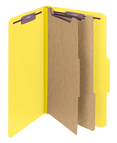 Smead Pressboard Classification File Folder with SafeSHIELD Fasteners, 2 Dividers, 2 Expansion, Legal Size, Yellow, 10 per Box (19034)