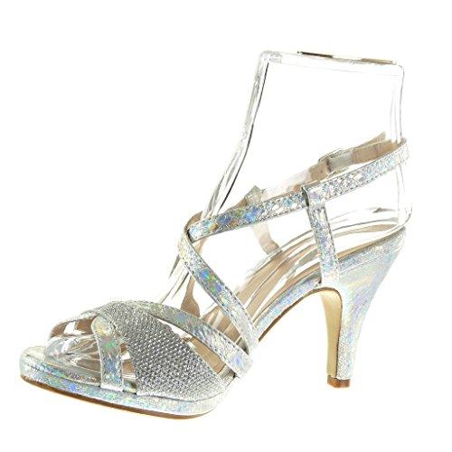Angkorly - damen Schuhe Sandalen Pumpe - Sexy - Schlangenhaut - String Tanga - glänzende Trichterabsatz 9 CM - Silber