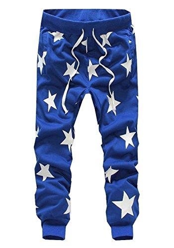 Eforstore Mens Pants Casual Star Print Joggers Hip Hop Dance Baggy Sweatpants (L(Waist-72cm), Blue)