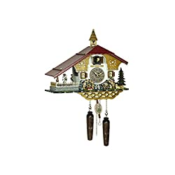 Trenkle Quartz Cuckoo Clock Black Forest House with Music and Dancers, Beer Drinker TU 4250 QMT HZZG