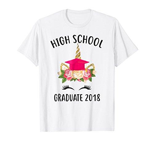 Unicorn Face Flower High School Graduate 2018 Senior Tshirt