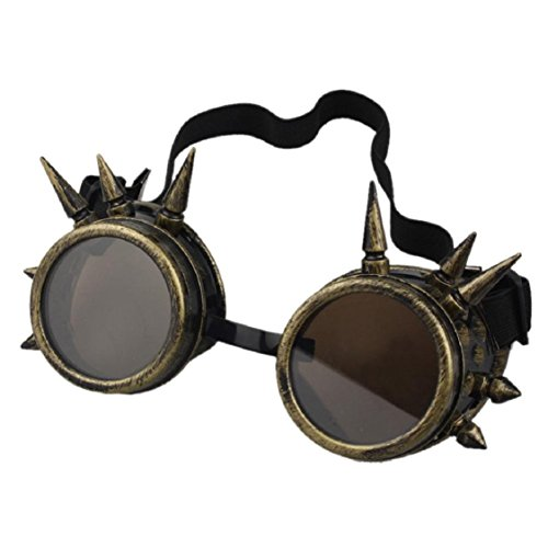 Ikevan 2017 Fashion Retro Rivet Steampunk Windproof Mirror Vintage Gothic Lenses Goggles Glasses ()