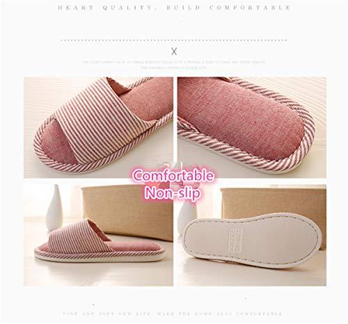 Btwoone Espuma Zapatillas con Abierta algodón viscoelástica Beige de Lino Puntera y Mujer de para diseño Rayas rrxq7w