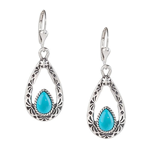 American West Sterling Silver Sleeping Beauty Turquoise Dangle Earrings by American West