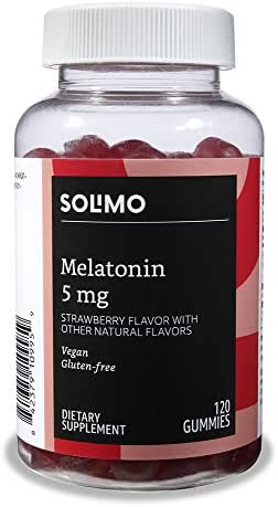 Amazon Brand - Solimo Melatonin 5mg, 120 Gummies (2 Gummies per Serving)