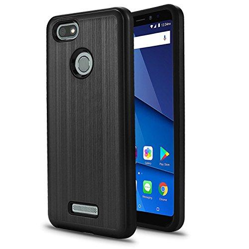 BLU Vivo XL3 5.5 Case, SOGA Shockproof Absorption Anti-Scratch Brush Texture Slim Hybrid Armor Protector Phone Cover Compatible for BLU Vivo XL3 5.5 V0250WW - Black
