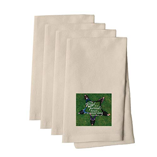The Road To Friend's House Is Never Long Cotton Canvas Dinner Napkin, Set of 4