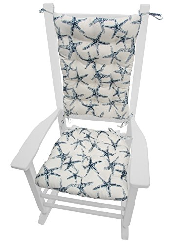 Cape Cod Beach Chair - Barnett Products Sea Shore Starfish Navy Indoor/Outdoor Rocking Chair Cushions - Latex Foam Fill, Made in USA, Reverses to SS Starfish Navy