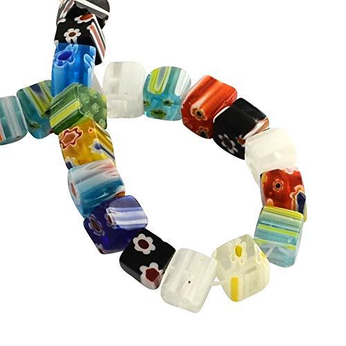 PH PandaHall 650pcs 6mm Assorted Lampwork Glass Beads Cube Millefiori Beads for Jewelry -