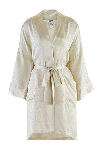 Nyeez Men's Classic Silk Robe Kimono Bathrobe (One-Size, Oyster) ()